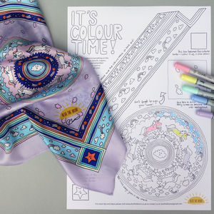 Unicorn Print Silk Scarf Colouring Kit