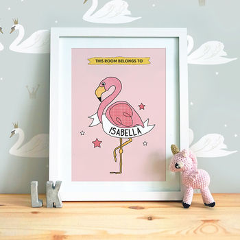 Personalised Flamingo Nursery Print
