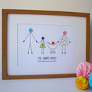 personalised button people print in frame