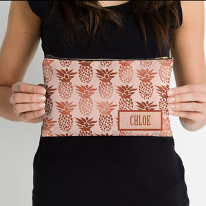 Blush And Copper Pineapple Personalised Make Up Bag