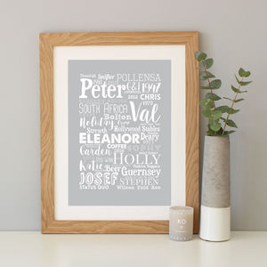 Personalised Mixed Typography Word Art Print - canvas prints & art