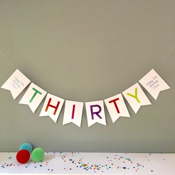 Thirty Birthday Party Banner Bunting Decoration