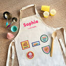 Personalised Kids Apron And Iron On Achievement Patches