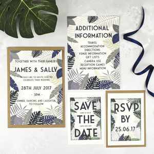 Tropical Botanical Wedding Stationery Set - invitations