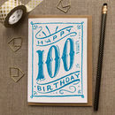 100th Birthday 100th Card Blue Chalk