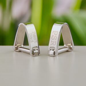 Contemporary Personalised Silver Wrap Cufflinks