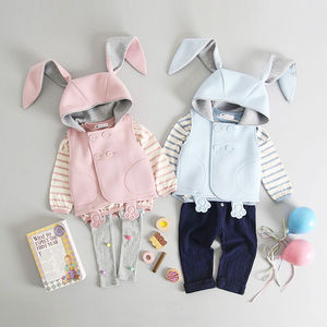 Bunny Sleeveless Jacket, Jumper And Leggings Set - clothing