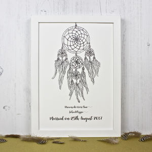 Dream Catcher Personalised Wedding Print - prints & art sale
