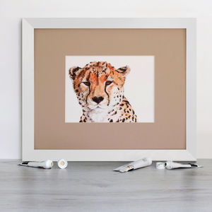 A Watchful Cheetah, Signed Mounted Giclée Print