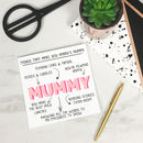 Personalised 'Things That Make You Mummy' Card