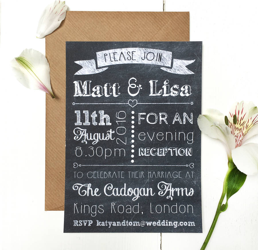 chalkboard evening wedding invitation by peardrop avenue