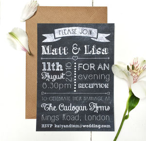 Chalkboard Evening Wedding Invitation - invitations