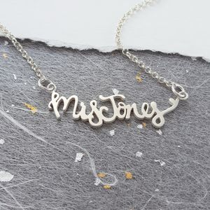 Personalised Name Heart Necklace - gifts for her sale