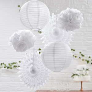 White Party And Wedding Paper Hanging Decorations - outdoor decorations