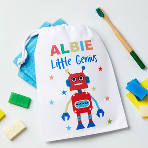 Boys Personalised Robot Wash Bag - storage