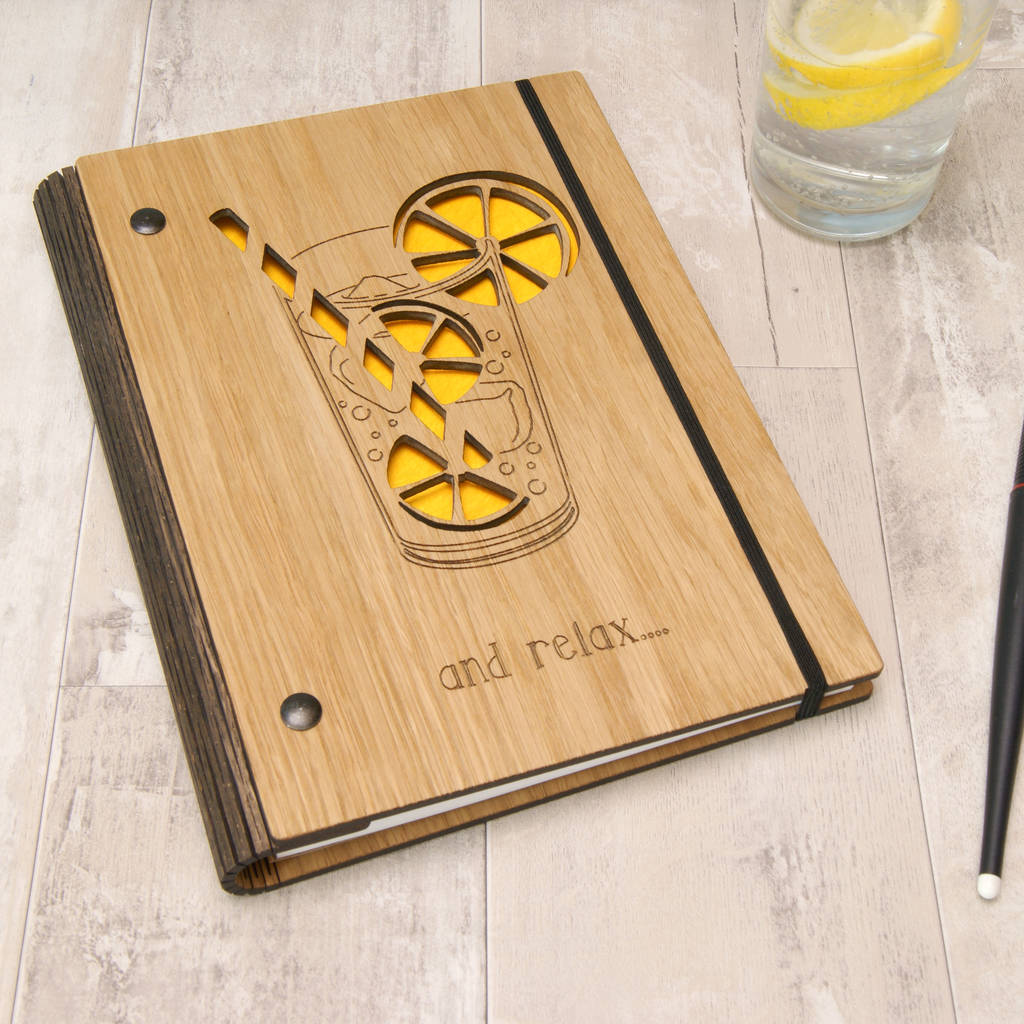 Wooden Cocktail Notebook