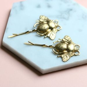 Brass Bumblebee Hair Slides - bridal accessories