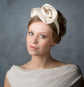 Minimalist Bridal Duchess Silk Satin Flower Headpiece - bridal hairpieces