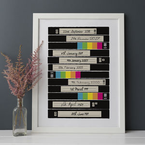 Personalised Milestone Moments Vhs Print - personalised
