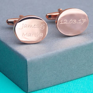 Engraved Rose Gold Shape Cufflinks - mens