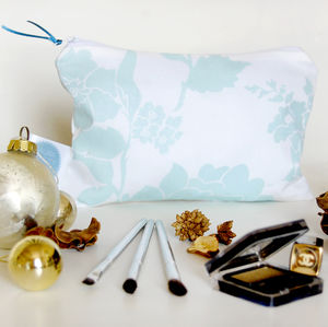 Floral Travel Cosmetic Bag, Duck Egg - make-up & wash bags