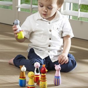 Wooden Farm Animal Skittles - outdoor toys & games
