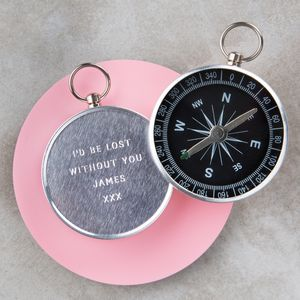Personalised Engraved Valentine's Day Compass - gifts for travel-lovers