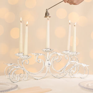 Baroque Elegance White Patina Candelabra Centerpiece - sale