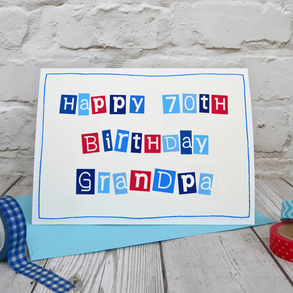Large A5 Mens 70th Birthday Card Personalised For A Special Dad Grandad Pops
