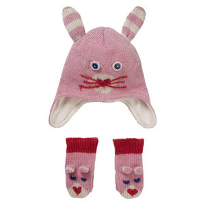 Pink Bunny Hat And Mitten Gift Set