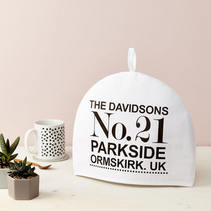 Personalised Address Tea Cosy - housewarming gifts