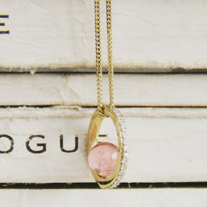 Pink Tourmaline And Diamond Halo Necklace - necklaces & pendants