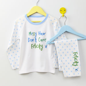 Girls Personalised Messy Hair Print Pyjamas - personalised