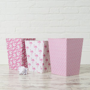 Recycled Pink Prints Waste Paper Bin