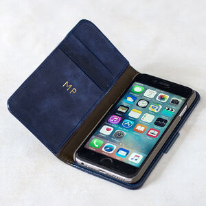 Classic Blue Leather iPhone Case With Gold Initials