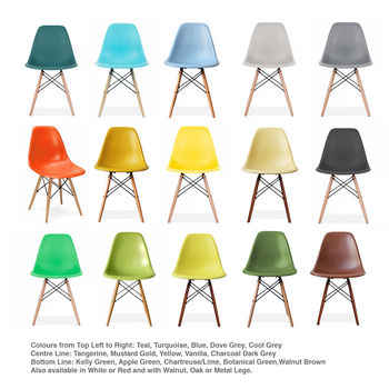 Eames Style Dsw Wood Base Chair, 20+ Colours Available