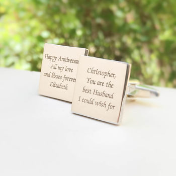 Personalised Cufflinks With Engraved Message