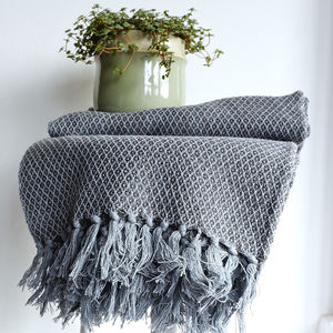 Cotton Woven Pattern Throw - blankets & throws