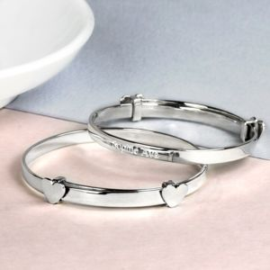 Child's Silver Expanding Bangle With Heart