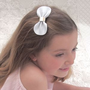 Girls Lux Leather Bow Hair Clip White And Gold