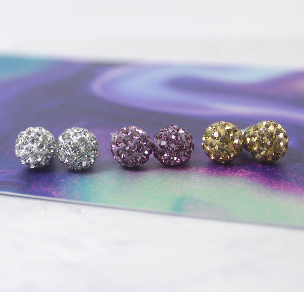 Pave Crystal Ball Stud Earrings