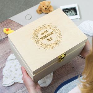 Personalised Starburst Christening Keepsake Box - children's room