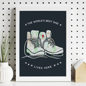 Personalised Walking Boots Map Print