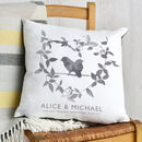 French Grey Leaf & Bird Print Couples Cushion