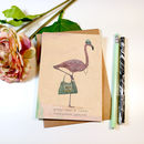 'Peggy Flamingo' Greeting Card