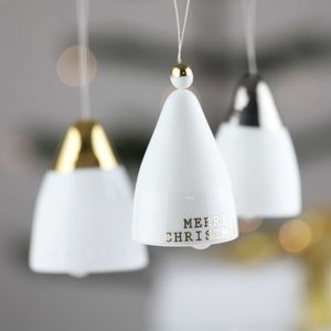 Silver And Gold Porcelain Christmas Bells - tree decorations