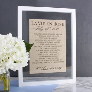Cotton And Linen Anniversary Custom Lyrics/Vows Frame - home accessories
