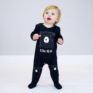 Personalised Scandi Bear Baby Sleepsuit - the monochrome edit