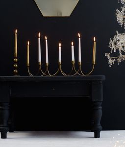 Golden Curved Seven Candle Holder - home accessories