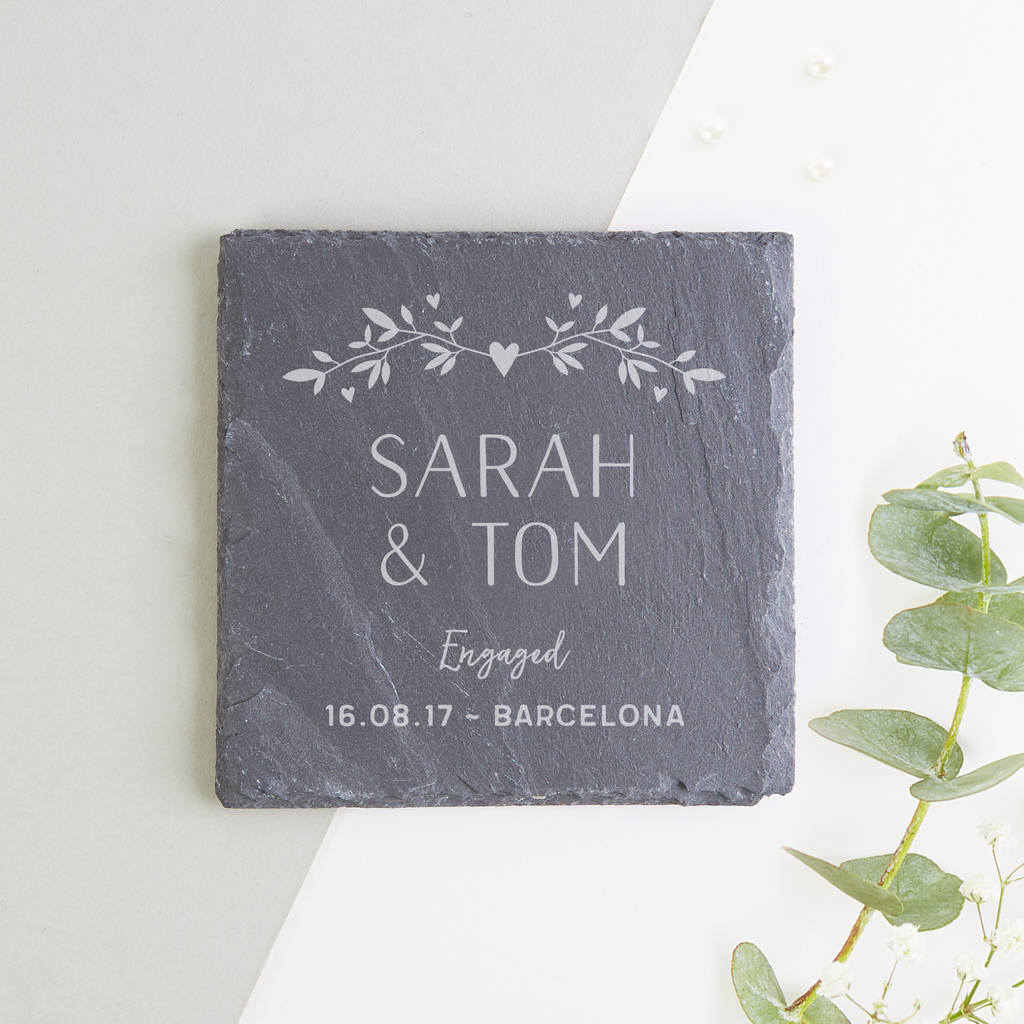 Personalised slate coaster engagement gift by normadorothy personalised slate coaster engagement gift negle